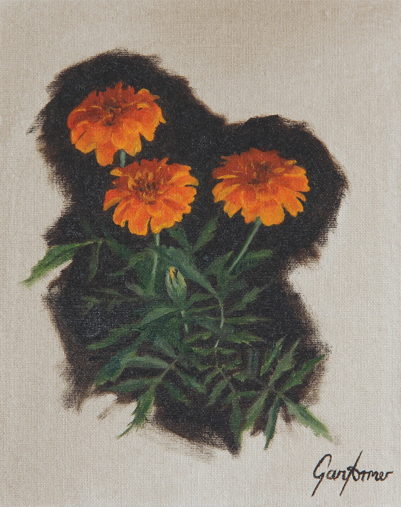 Oil Painting of Marigolds