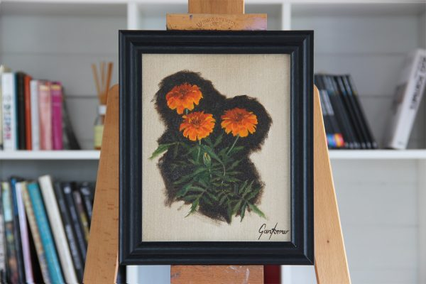 Marigolds Oil Painting Framed in Studio