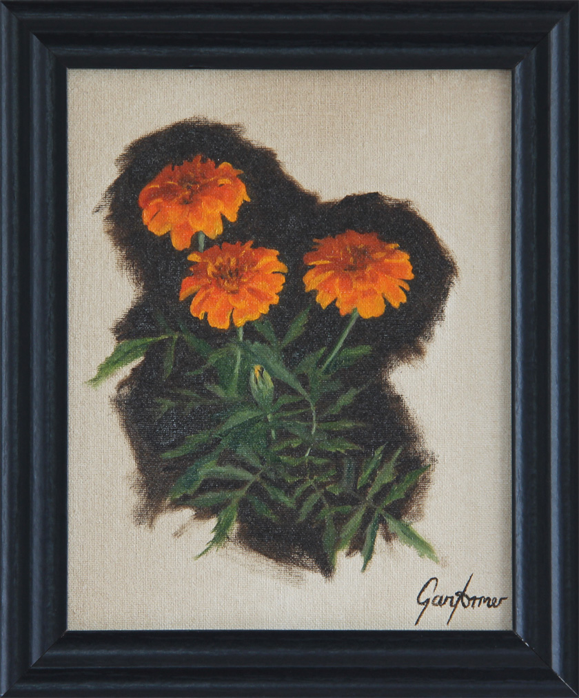 Framed Painting of Marigolds
