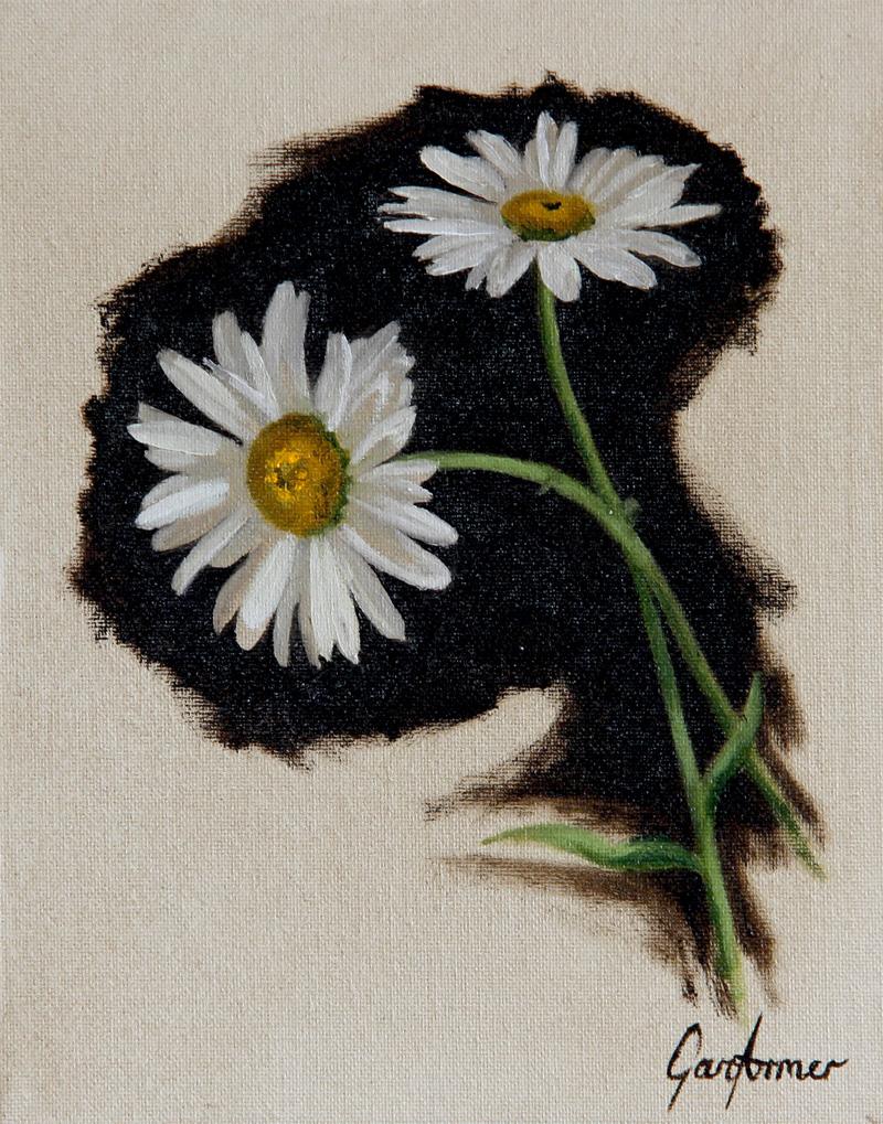 Oil Painting of Michaelmas Daisies