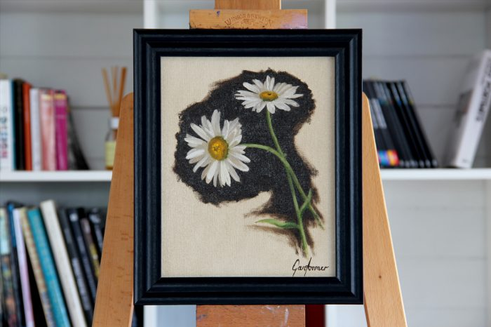 Michaelmas Daisies Oil Painting in Frame