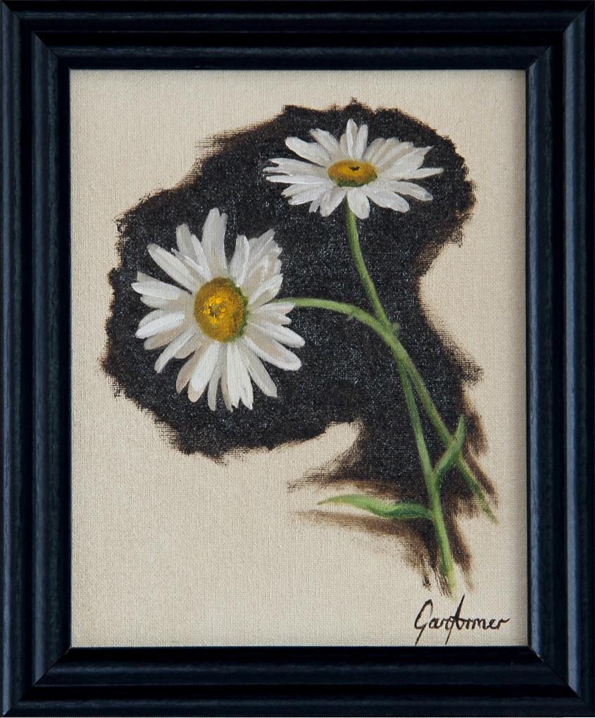 Michaelmas Daisies Oil Painting in Frame