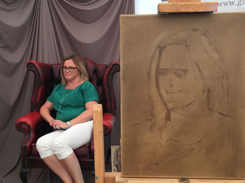 Portrait painting sketch in oils