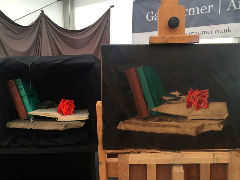 Still Life Painting of Books and Flower in Progress