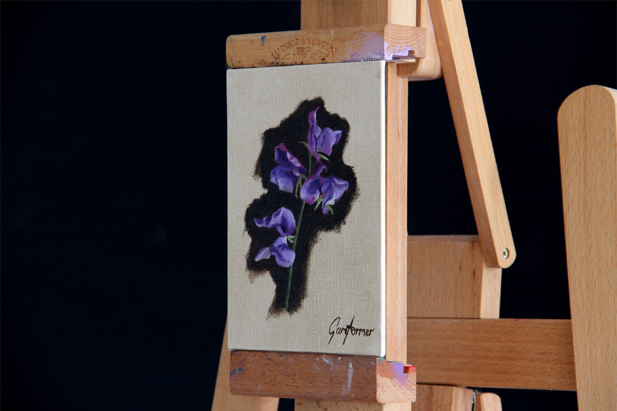 Oil Painting of Purple Sweetpeas