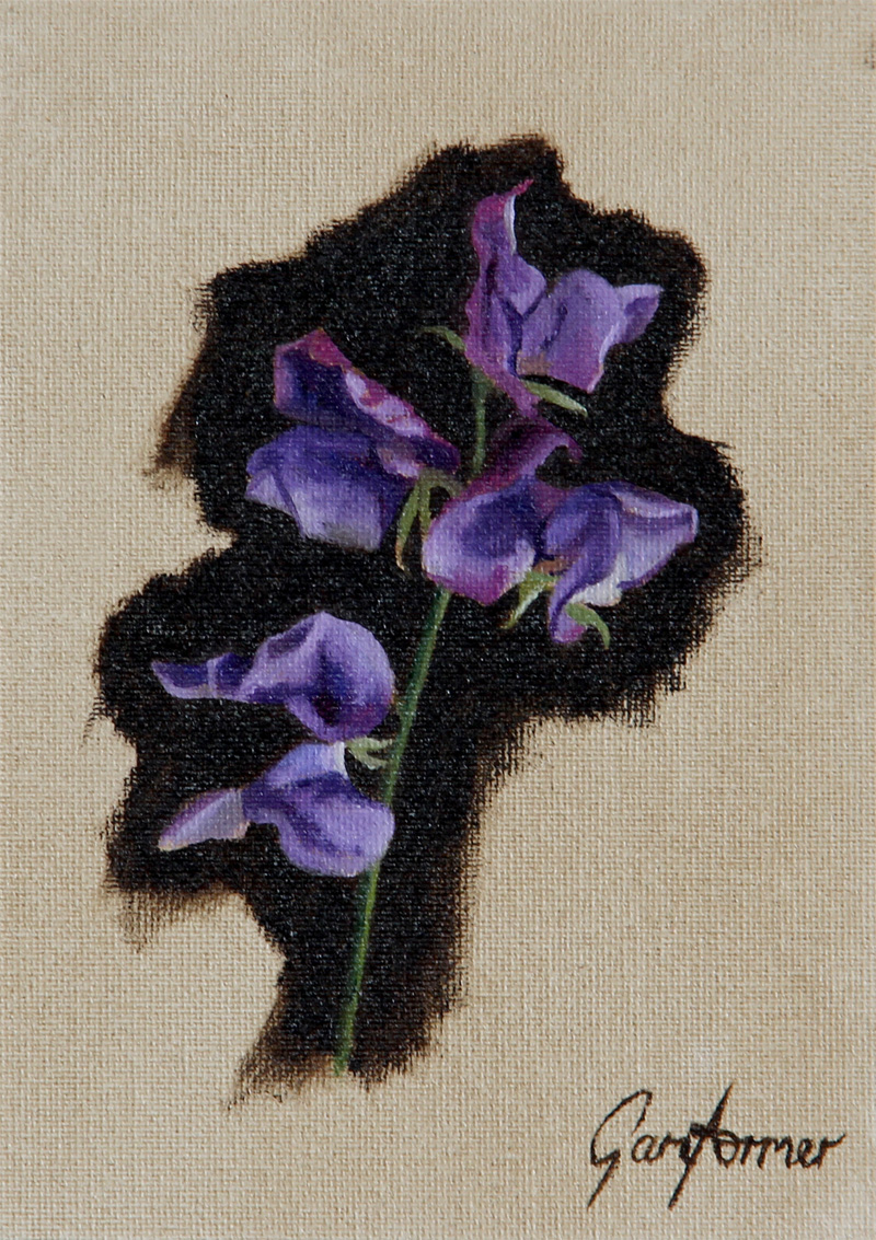 Oil Painting of Sweetpeas
