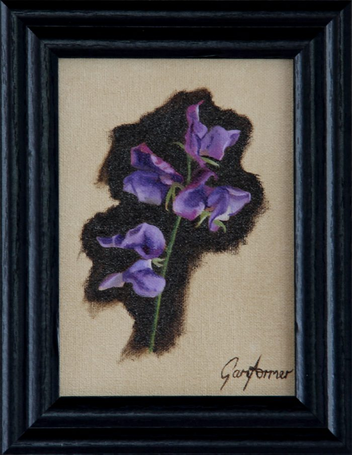 Painting of Sweetpeas Framed