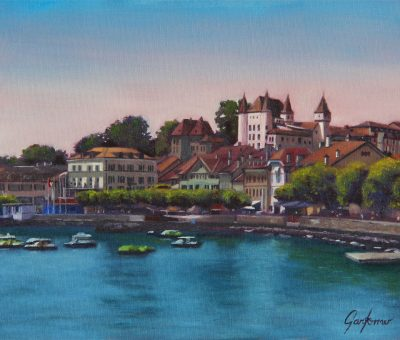 Nyon at Midday Oil Painting Switzerland