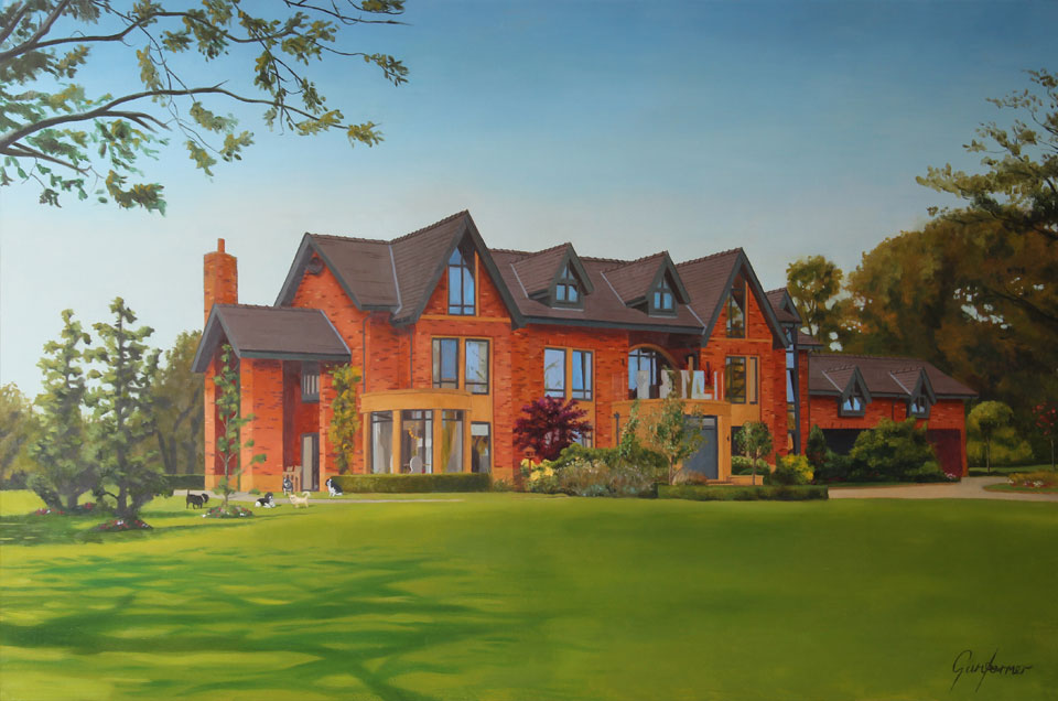 Oil Painting of a Large House