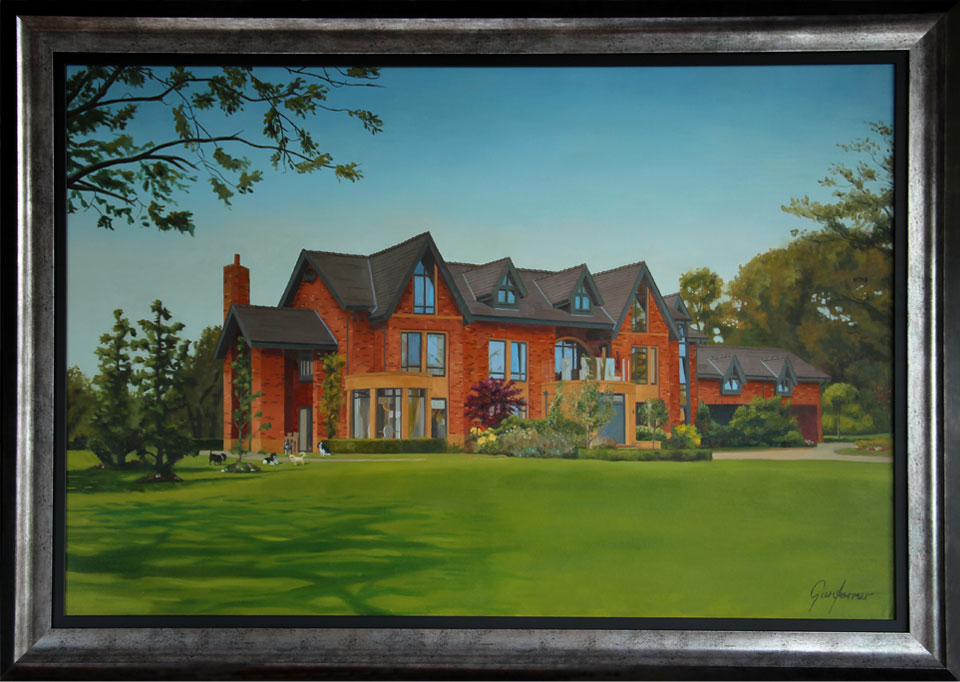 Framed Oil Painting of a House