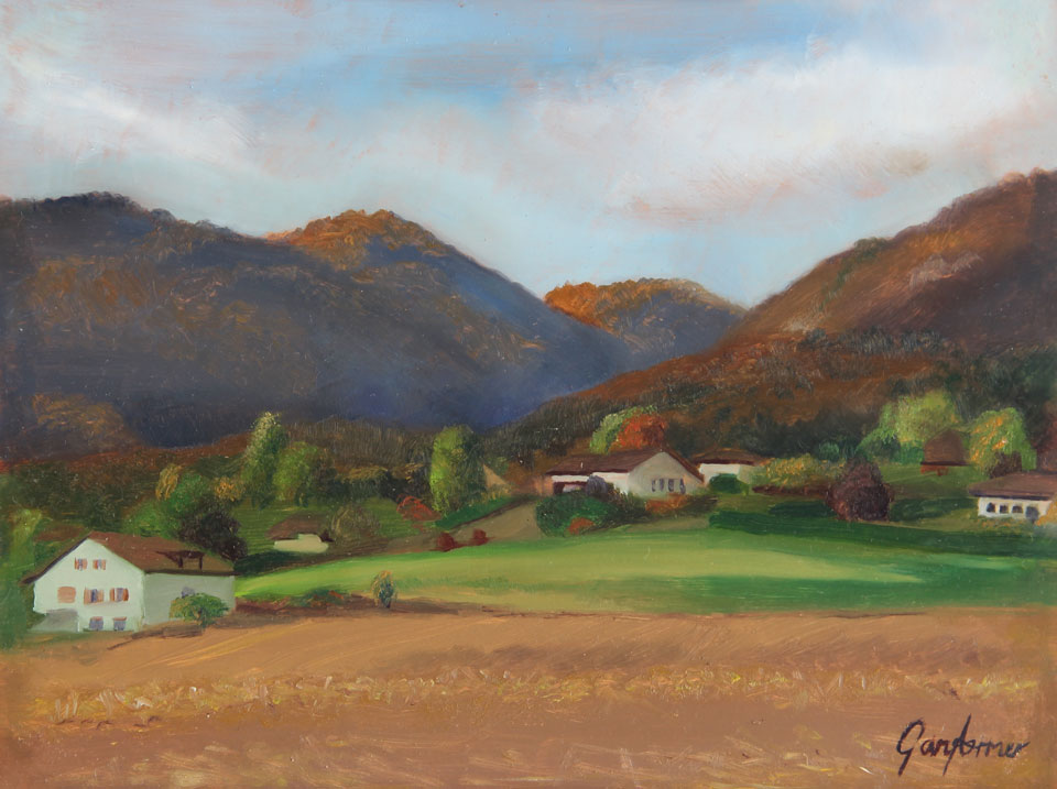 Painting of the Jura Mountains in Switzerland