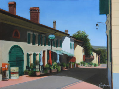 Painting of the Auberge at Givrins