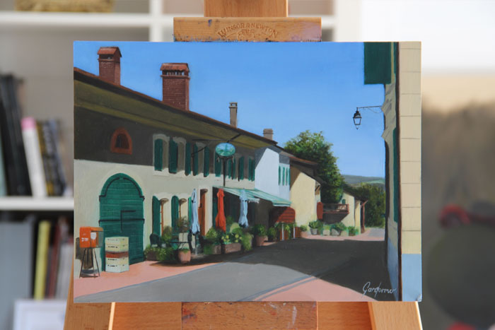 Oil Painting of the Auberge at Givrins, Switzerland
