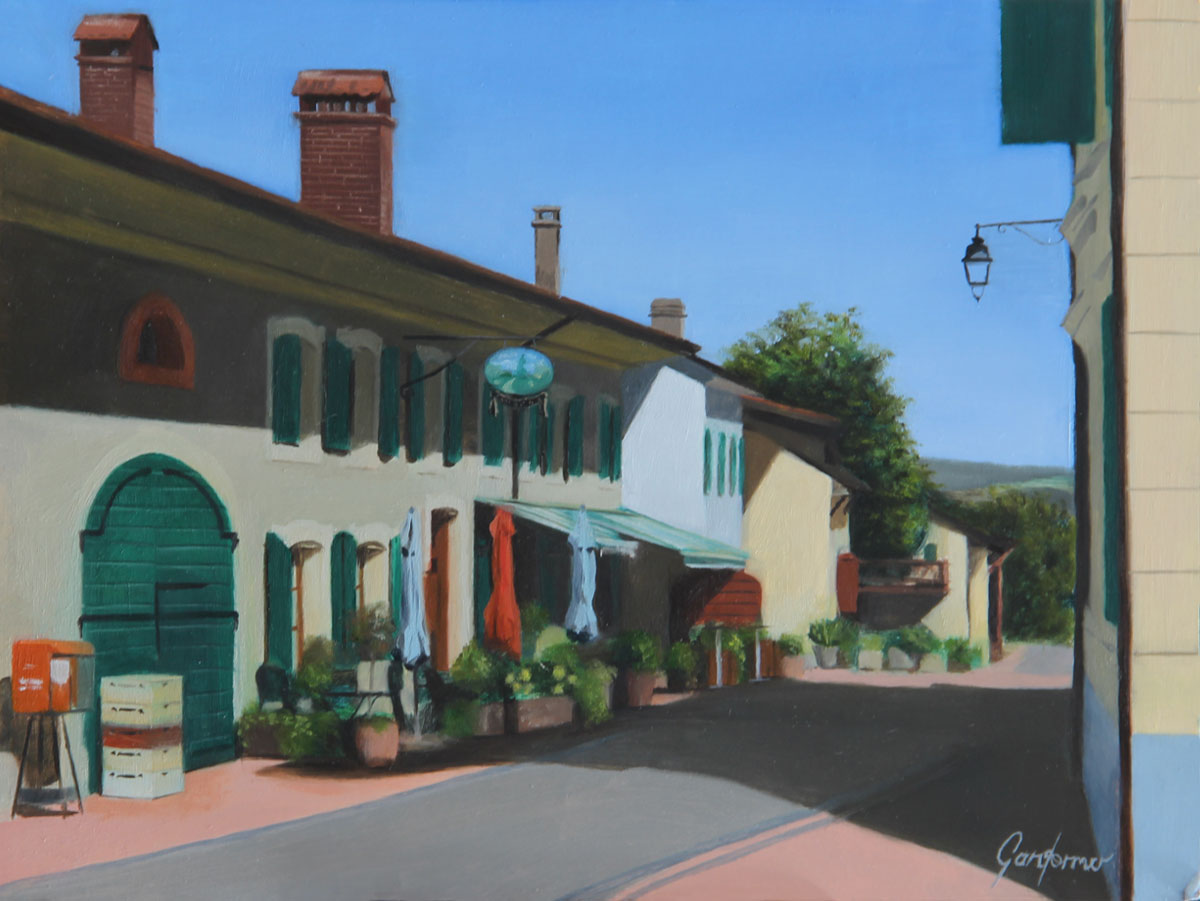 Oil Painting of the Auberge in Givrins, near Nyon