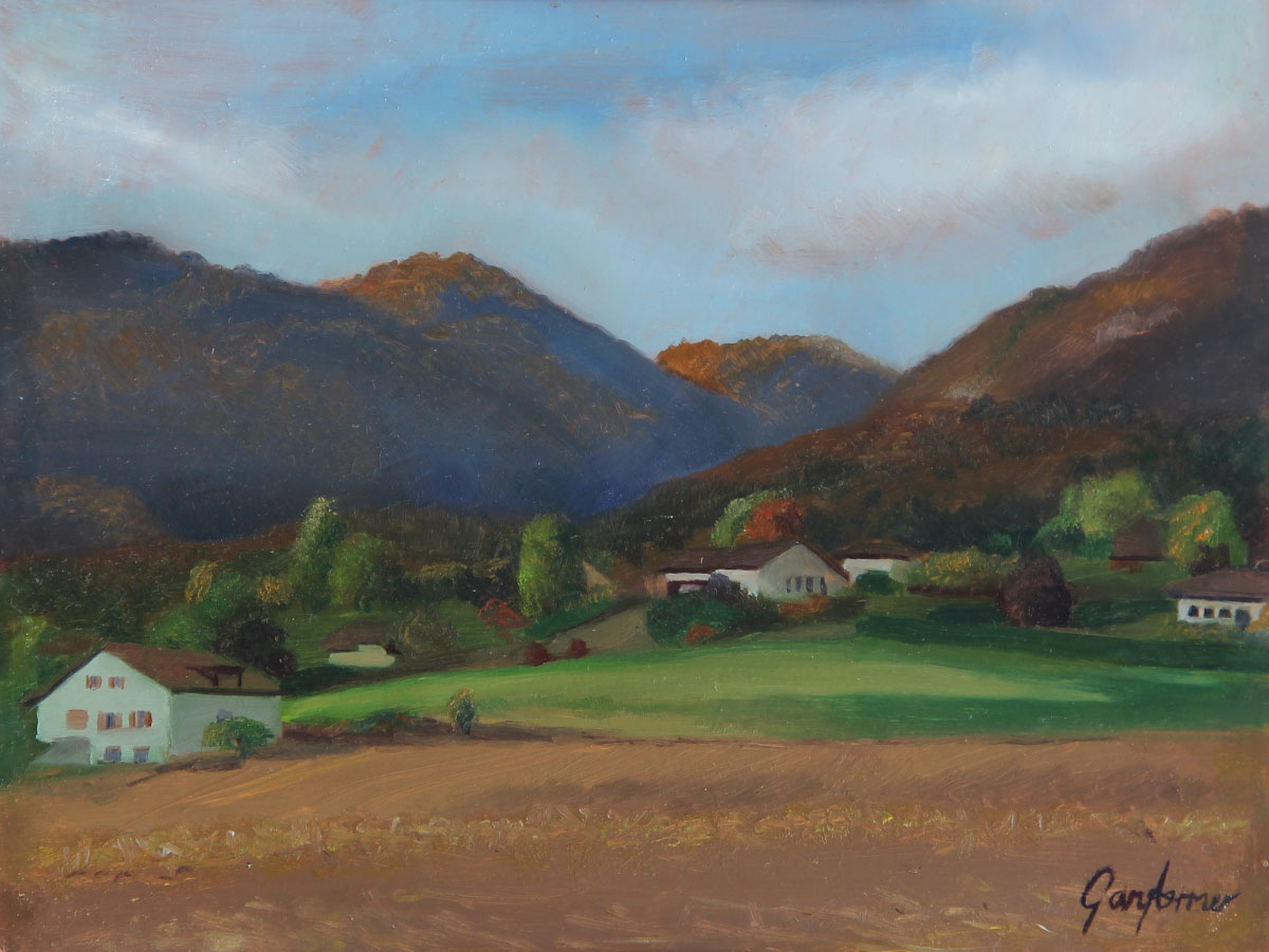 Painting of the Jura Mountains Switzerlannd