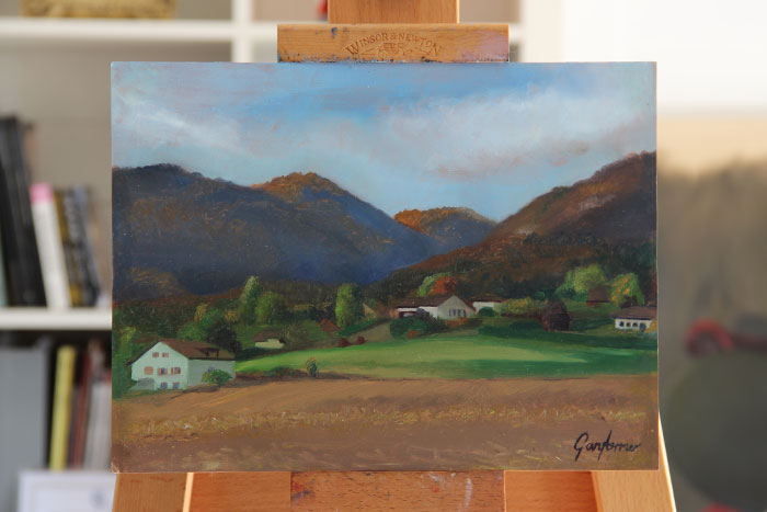 Painting of the Jura Mountains Givrins