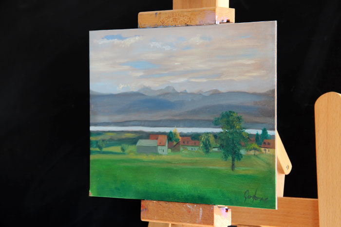 Painting of Lake Geneva, Switzerland