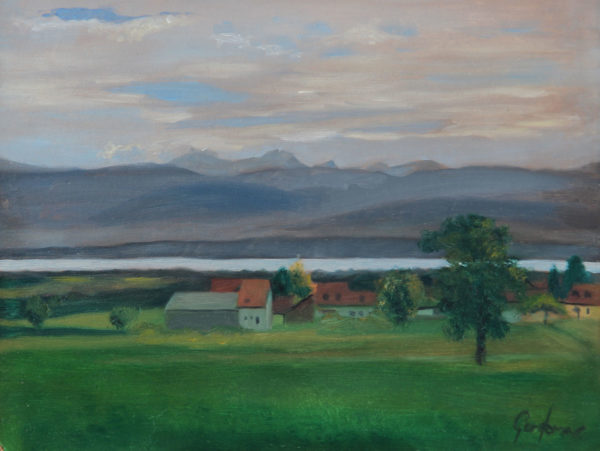 Oil Painting of Lake Geneva from Givrins