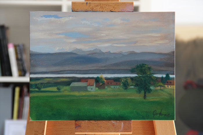 Oil Painting of Lake Geneva
