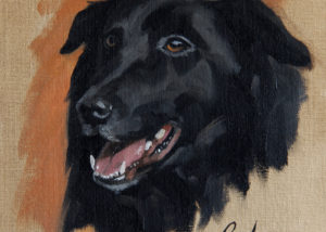 Oil Painting of Black Dog