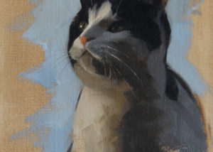 Oil Painting of Black and White Cat